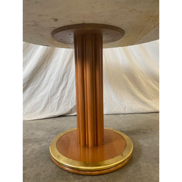 Mid 20th Century Round Stone Top Italian Pedestal Dining Game Table - Mid Century For Sale - Image 5 of 10