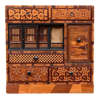Antique Inlaid Exotic Woods Cabinet For Sale