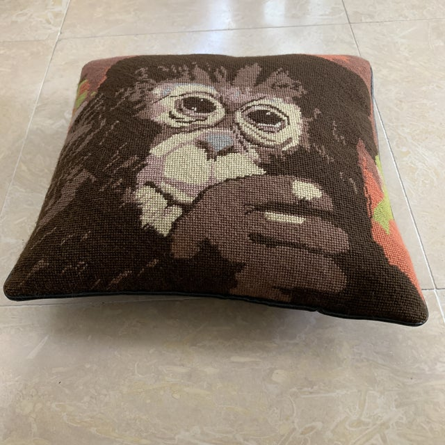 Boho Chic Vintage Mid Century Monkey Needlepoint Pillow For Sale - Image 3 of 7