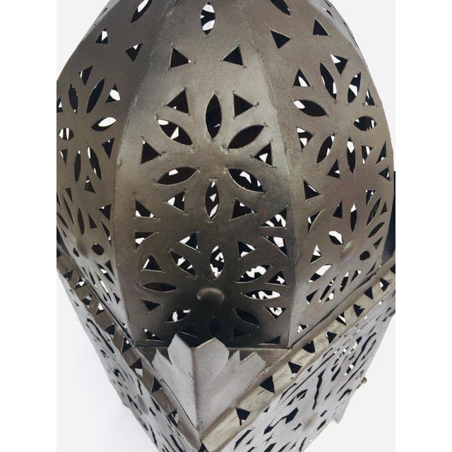 Large Moroccan Hurricane Metal Candle Lantern For Sale In Los Angeles - Image 6 of 13