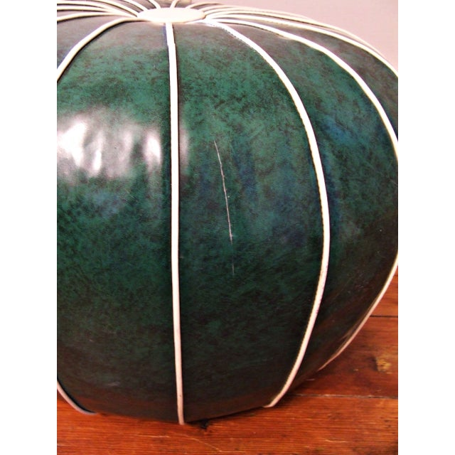 Mid-Century Pouf Ottoman in Malachite Style Vinyl For Sale - Image 5 of 5