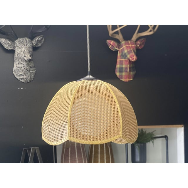 """Gorgeous Vintage Wicker Shade with unique scalloped design ** All New custom made lighting parts -8"""" hand blown opal glass..."""