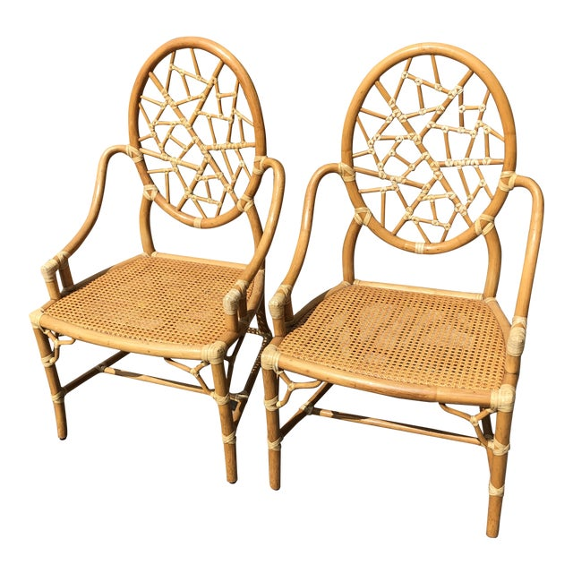 """Hollywood Regency McGuire """"Cracked Ice"""" Rattan Chairs - a Pair For Sale"""