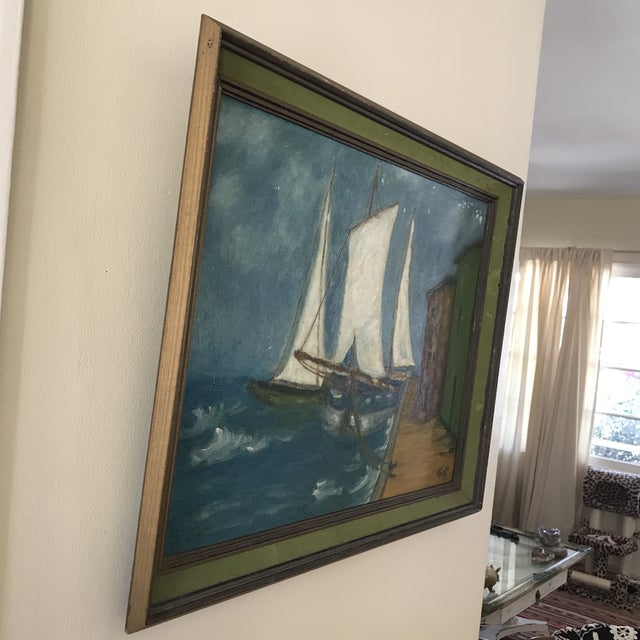 Americana Vintage Twilight Sailboat Painting For Sale - Image 3 of 10