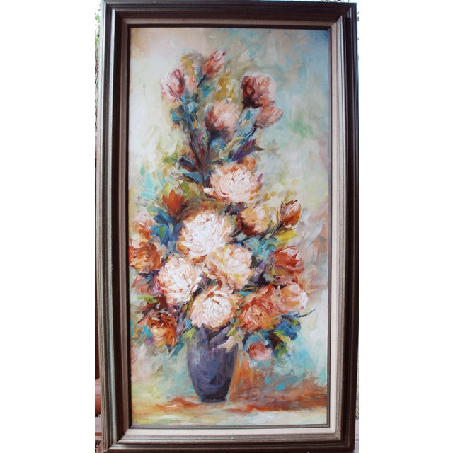 Vintage Impressionist Chrysanthemums Painting - Image 2 of 6