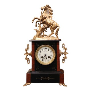 19th Century French Napoleon III Two-Tone Marble and Brass Mantel Clock by Japy For Sale