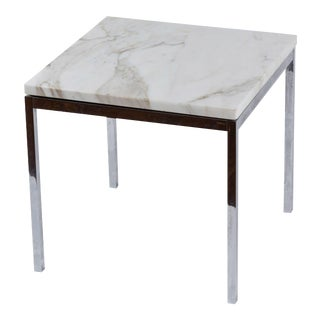 American Knoll-Style Chrome and Marble End Table, circa 1950 For Sale