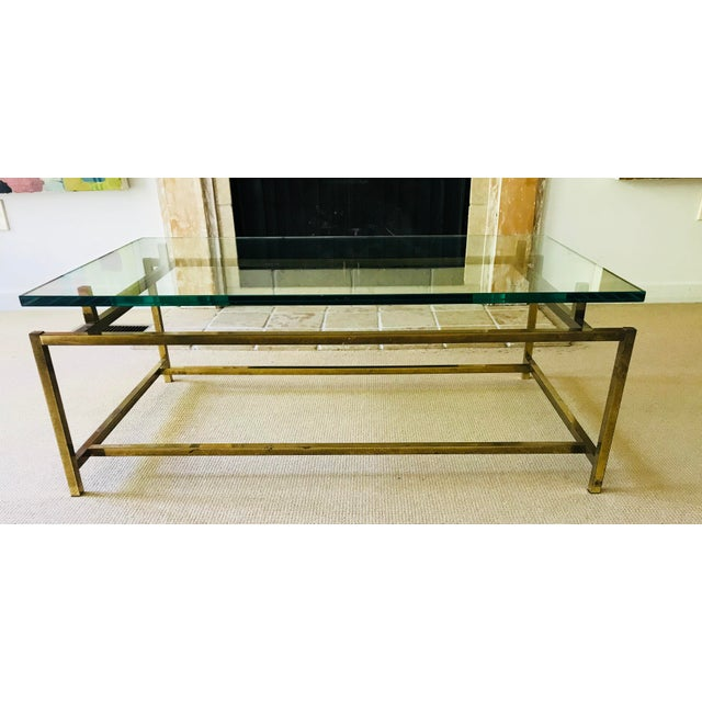 Mid Century Coffee Table Brass and Glass Floating For Sale - Image 10 of 10