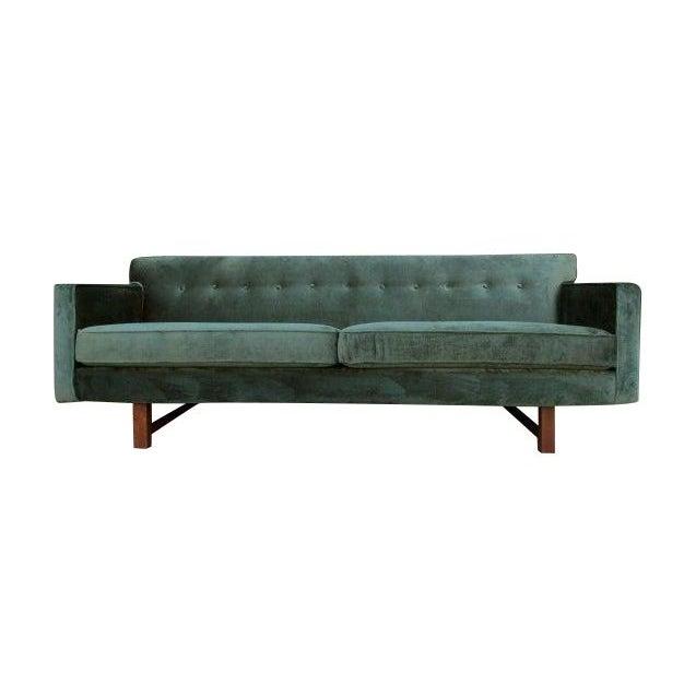 Mid-Century Style Green Velvet Sofa For Sale