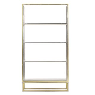 Nickel & Brass Metal Bookcase For Sale