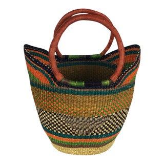 Bolga Ghana Orange U Shopper Beach Bag Woven Basket - Batch # For Sale