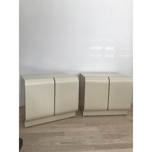 Vintage Waterfall White Laminate Nightstands - A Pair - Image 4 of 9