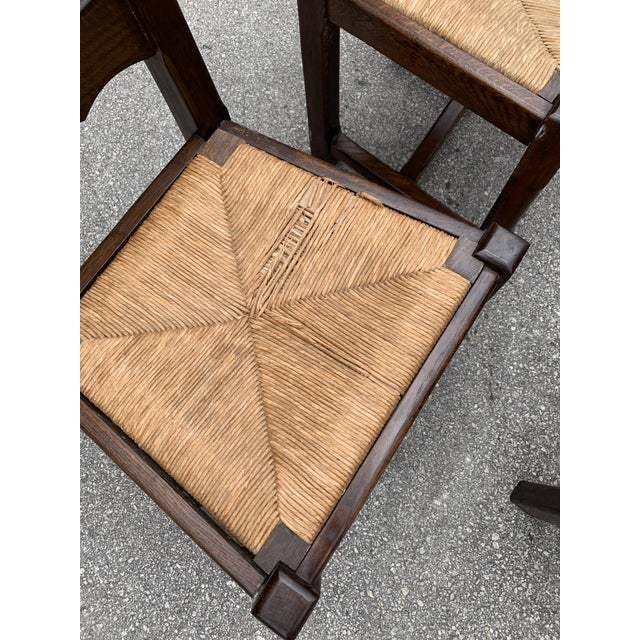 Gold 1910s French Louis Philippe Rush Seat Solid Walnut Dining Chairs - Set of 10 For Sale - Image 8 of 13