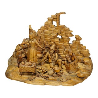 Antique Large Carved Diorama of a Tyrolian Family Ca. 1900 For Sale