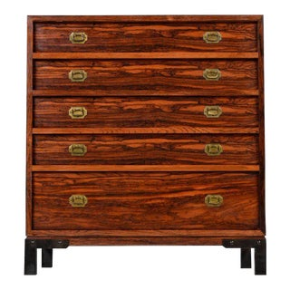 Rosewood and Brass Accent Asian Modern Chest or Commode Dressers