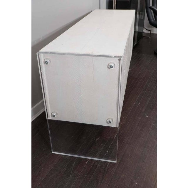 White Python Sideboard with Lucite Side Panels For Sale - Image 4 of 7