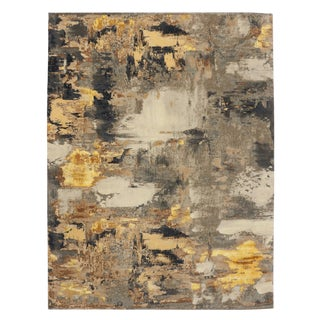 "Modern Style Contemporary Abstract Texture Rug - 9' x 12'1"" For Sale"