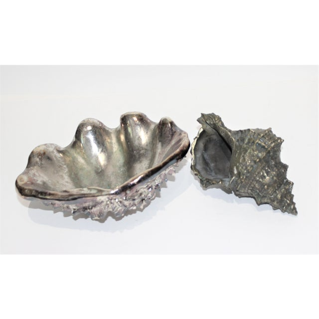 Shell Sculptures Ribbed Clam and Conch - set of 2 from a Palm Beach estate The ribbed clam is made from heavy resin...