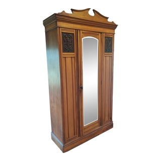 1930s Traditional German Made Wardrobe With Mirrored Door For Sale