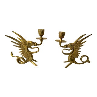 Brass Dragon Candle Holders - A Pair