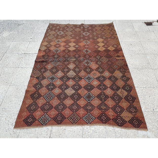 "Brown Distressed Vintage Turkish Soumac Rug 4'2"" X 6'3"" For Sale - Image 8 of 8"