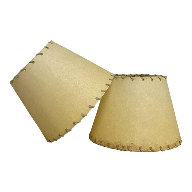 1960s Western Rawhide Lamp Shades - a Pair For Sale