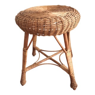 Vintage Mid Century Modern Albini Style Wicker Stool For Sale