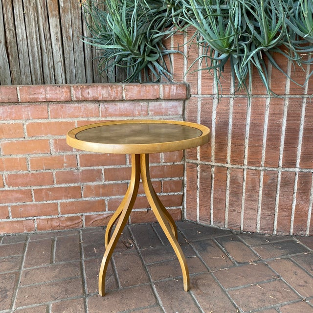 1960s Kipp Stewart for Drexel Round Leathertop End Table For Sale - Image 10 of 12