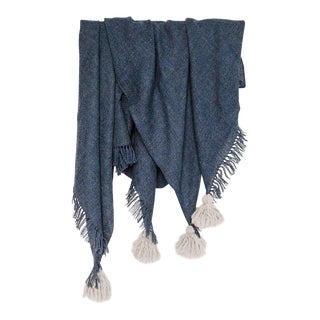 Handmade Navy Pampa Alpaca Throw For Sale