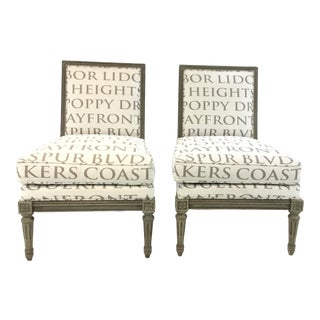Hickory Chair French Style Transitional Petite Slipper Chairs Pair With Word Fabric For Sale