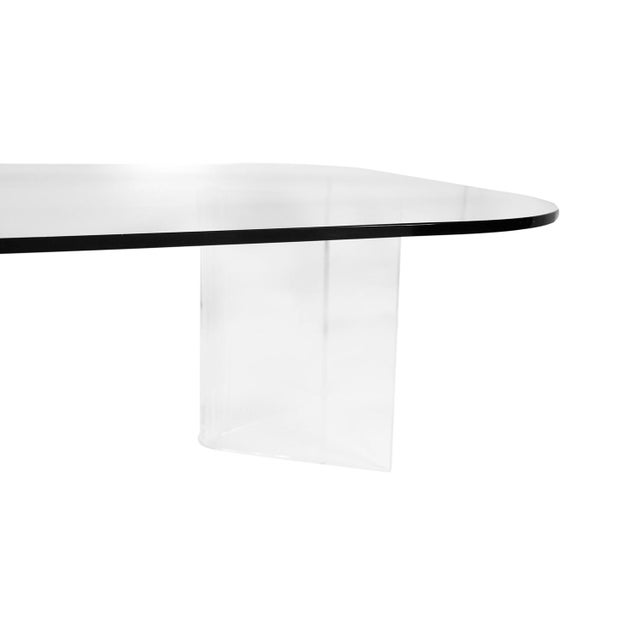 Mid Century Modern Lucite Base Glass Top Coffee Table For Sale In Baltimore - Image 6 of 11