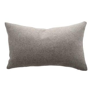 Contemporary FirmaMenta Natural Light Brown Herringbone Wool Lumbar Pillow For Sale