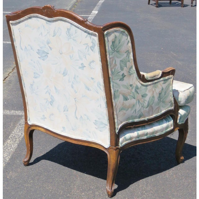 Louis XV Upholstered Carved Walnut Bergeres Marquis Armchairs- A Pair - Image 5 of 5