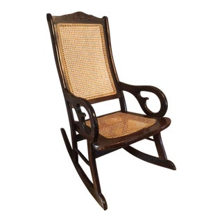 Vintage Cane Dark Bentwood Rocking Chair For Sale