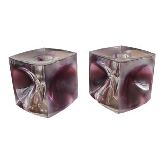 Czech Art Glass Candleholders by Rudolf Jurnikl for Rudolfova Glassworks - a Pair For Sale