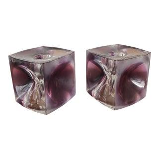 Mid-Century Czech Art Glass Candleholders by Rudolf Jurnikl for Rudolfova Glassworks - a Pair For Sale