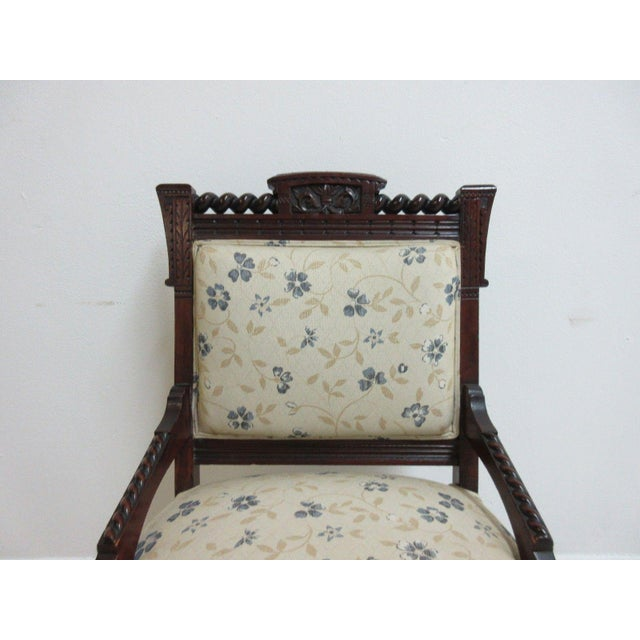 Antique Victorian Carved Walnut Lounge Chair For Sale - Image 9 of 10