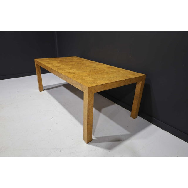 Mid-Century Modern Milo Baughman Olivewood Burl Parsons Dining Table For Sale - Image 3 of 13