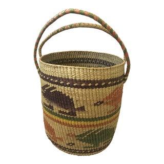 Large Vintage Hand Woven Jackrabbit Design Grass Basket For Sale