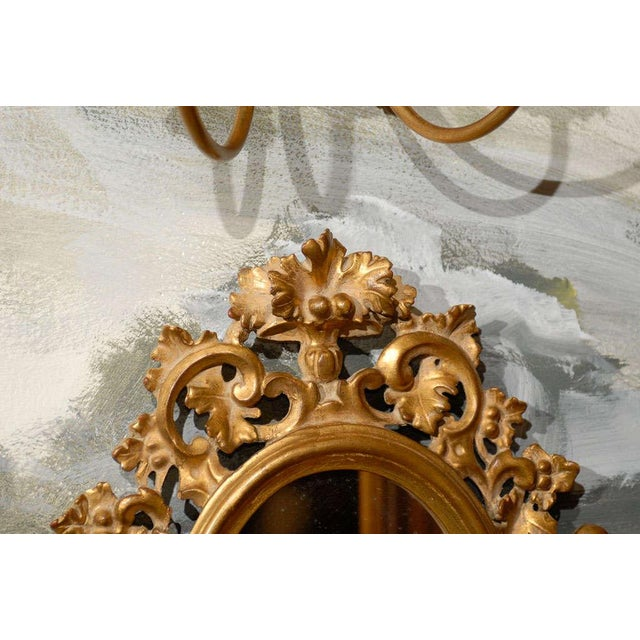 Wood Vintage Italian Mirrored Candle Sconces - a Pair For Sale - Image 7 of 8