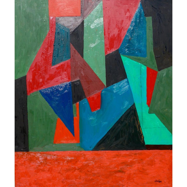 Red Contemporary Painting, Abstract Geometry For Sale - Image 8 of 8