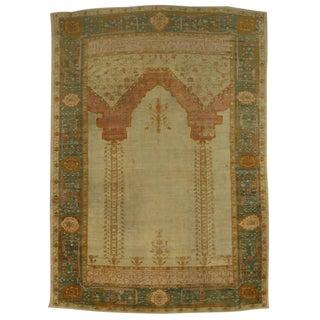 Antique Turkish Oushak Prayer Rug, West Anatolia