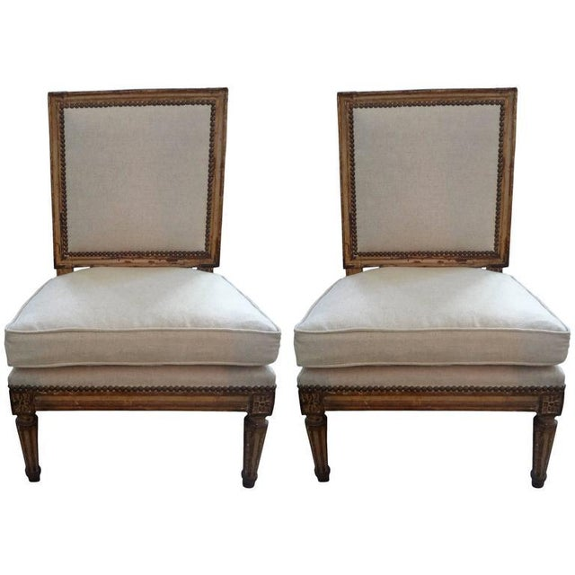 Gold 19th Century French Louis XVI Style Linen Upholstered Children's Chairs - a Pair For Sale - Image 8 of 8