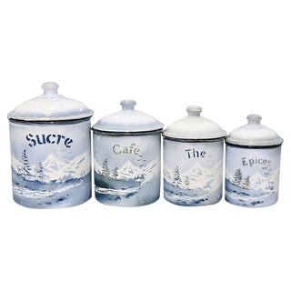 French Alps Souvenir Kitchen Canisters, S/3 For Sale