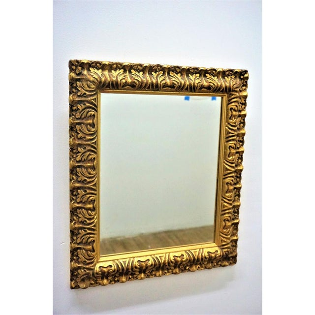 Mid-Century Carved Gilded Gold Wall Mirror - Image 2 of 5