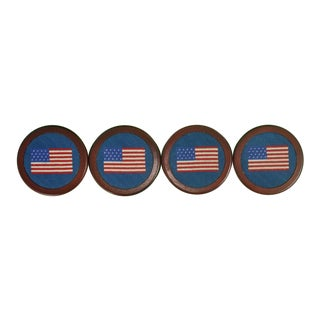 Custom Needlepoint USA Flag Coasters - Set of 4 For Sale