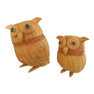 Vintage Nesting Wicker Owls - A Pair