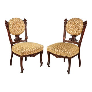 American Victorian Burled Walnut Side Chairs Attributed to Pottier & Stymus - a Pair For Sale