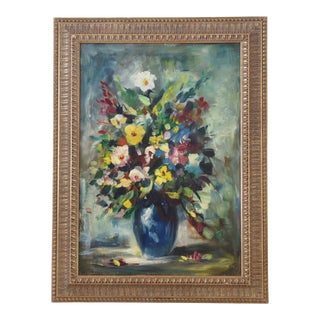 Midcentury Colorful Floral Tablescape Oil Painting For Sale