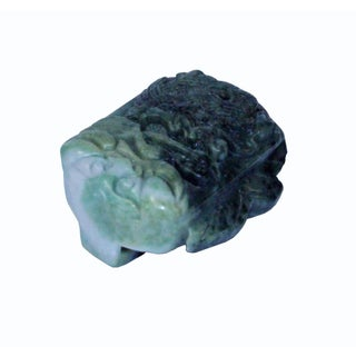 Natural Jade Stone Chinese Ancient Rectangular Belt Buckle Decor Feng Shui Dragon Carving Preview